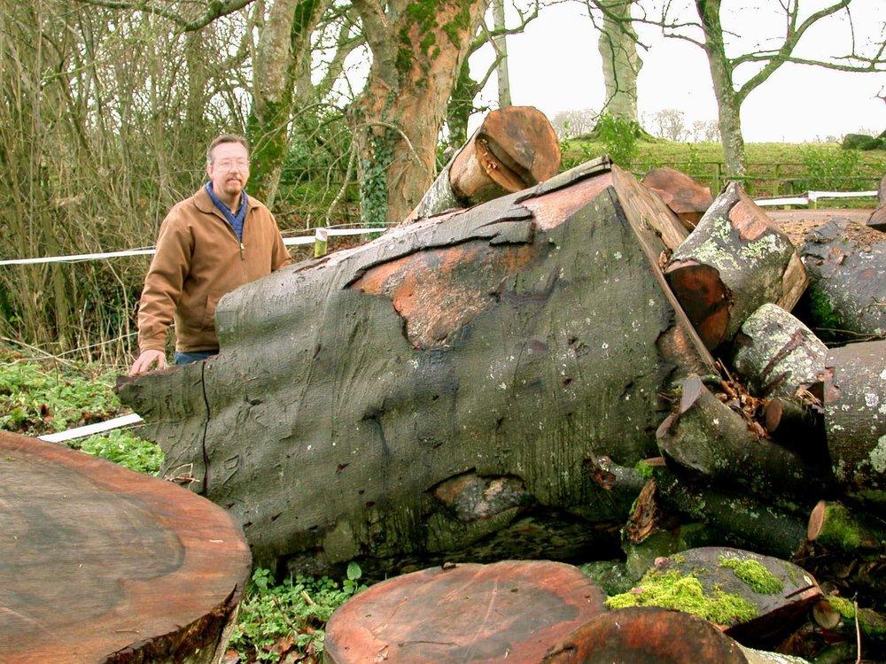 Min irske ven og kollega Kevin O'Dwyer viser her størrelsesforholdet til de stykker af Durrow-bøgen, som siden skulle blive til mit Scriptorium projekt.