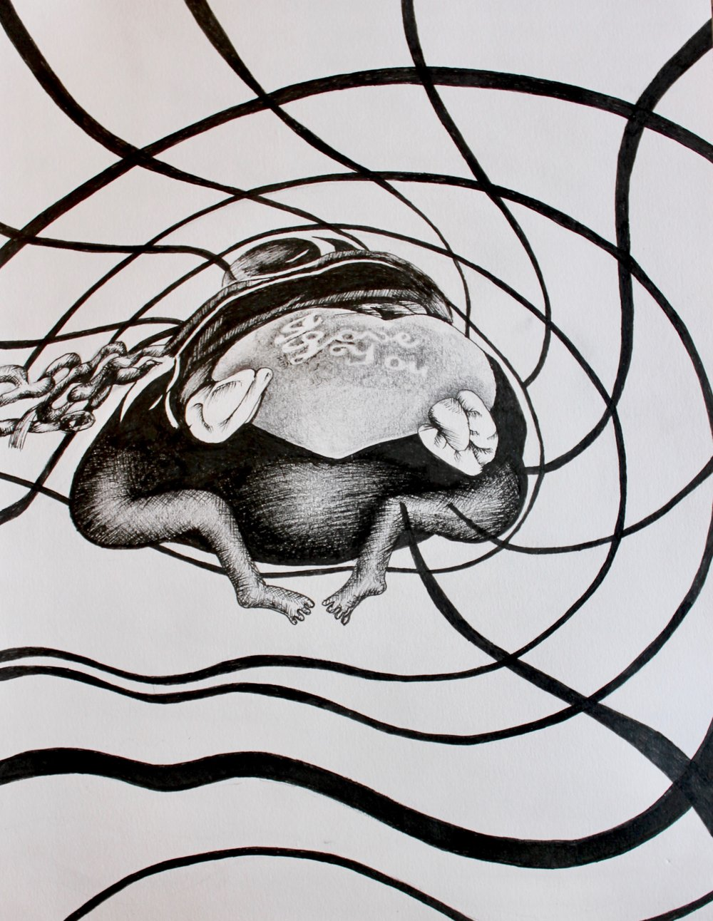 """Romantic, Charming Plush Frog"" 8.5 x 11, Ink"