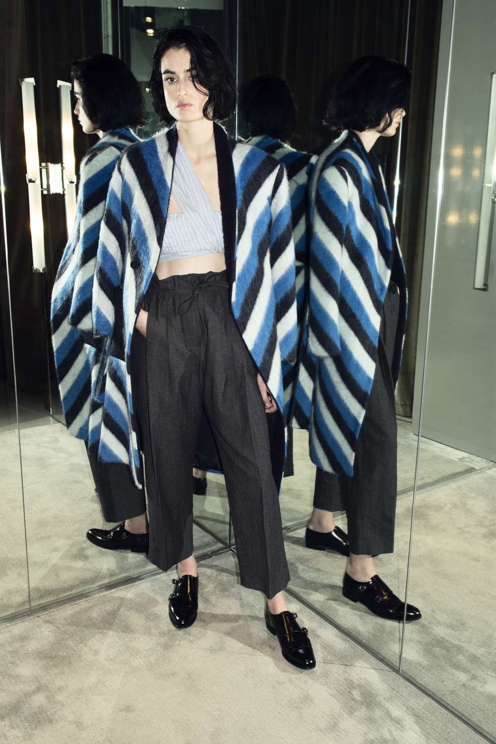 Shoes   Church's   $605 | Crop Top   Baja East   $495 | Pants   Pomandere   $410   Coat   Fausto Puglisi   $2375