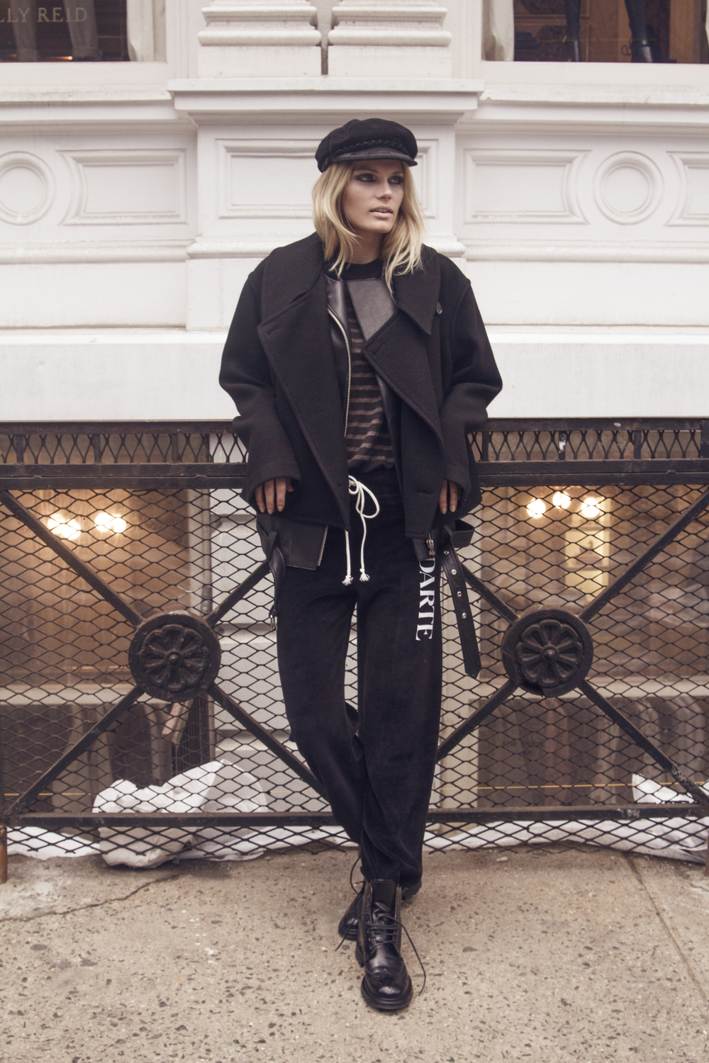 SWEATPANT RODARTE 200 | JACKET LEMAIRE 1040 | LEATHER VEST IRO TEE RAQUEL ALLEGRA 175 | HAT STYLIST'S OWN