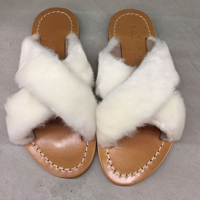 #NEWARRIVALS // faux fur for your feet! Sandals by #solange // available now at CURVE #shopcurve #solange #greek