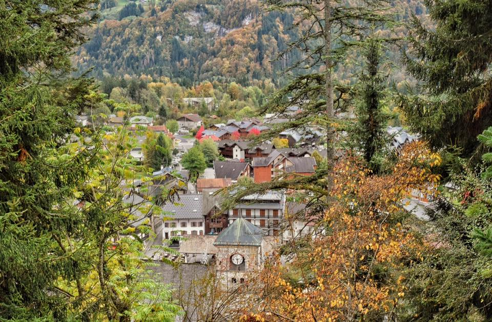 The village in autumn, looking down from the Jaysina botanic garden
