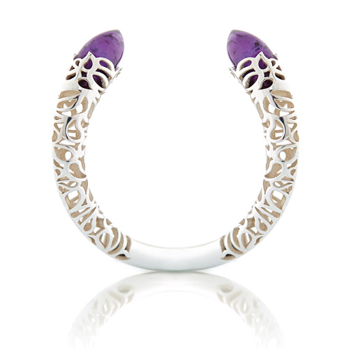 Amethyst and silver bangle