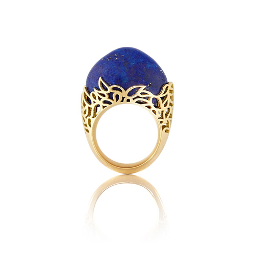 18ct gold and lapis lazuli ring