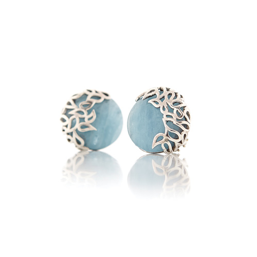 Aquamarine and silver stud earrings