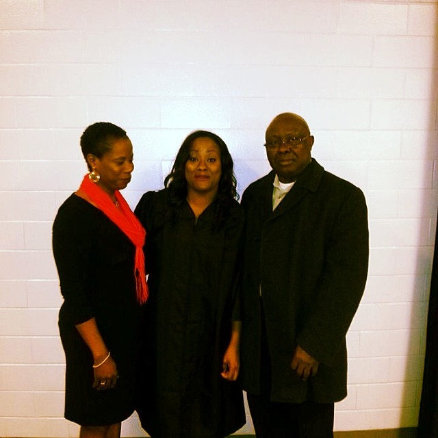 this picture of my parents and i after my graduation always makes me laugh.