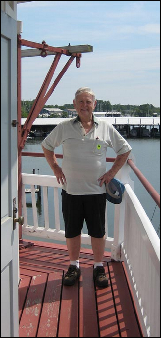Robert Eugene Whitaker at the restored lighthouse in July 2008