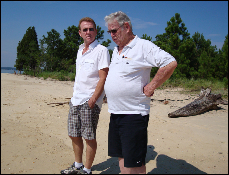 Scott  Whitaker (left) and Bob Whitaker on a recent trip to the Drum Point Club beach standing near the original site of Drum