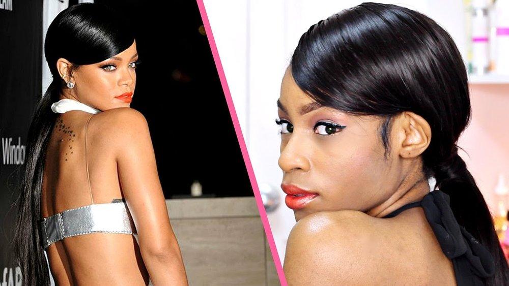 Rihanna Inspired Swoop Ponytail► Malaysian Straight Hair