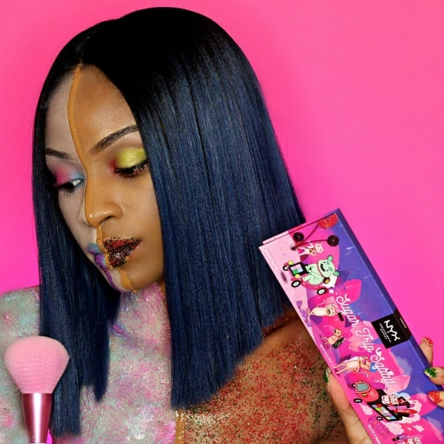 Sweet and Sour. You never know what side of her you'll get😉 The Sugar Trip Collection makes the perfect gift for this holiday season! I used 5 bomb colors from Sugar Trip Squad Shadow Palette to achieve this look. Purchase the Sugar Trip Collection at #NYXProfessionalMakeup stores or nyxcosmetics.com #SugarTrip #ad #nyxprofessionalmakeup #nyxcosmetics @nyxcosmetics