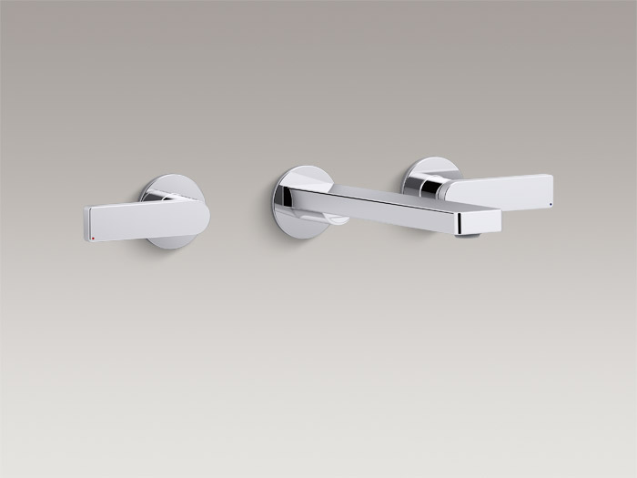 Wall-mount bathroom sink faucet with lever handles    K-73067-4