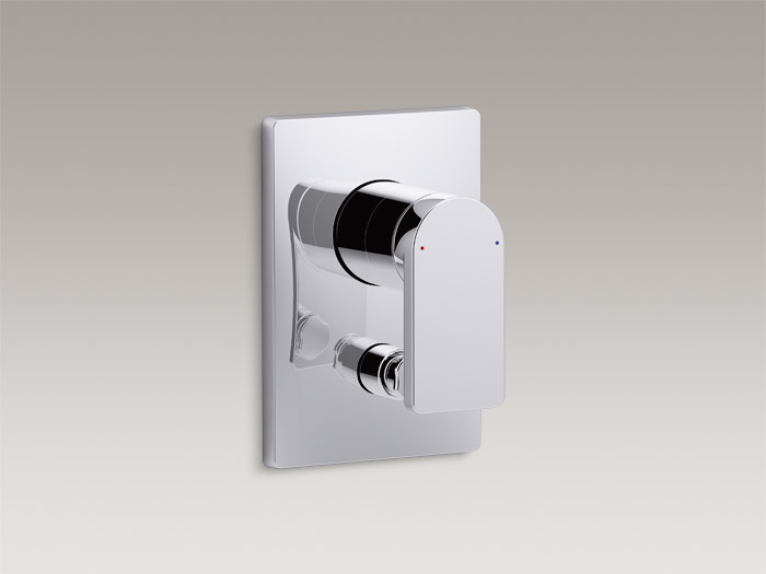 Recessed valve trim with diverter for 40 mm valve K-73100T-4
