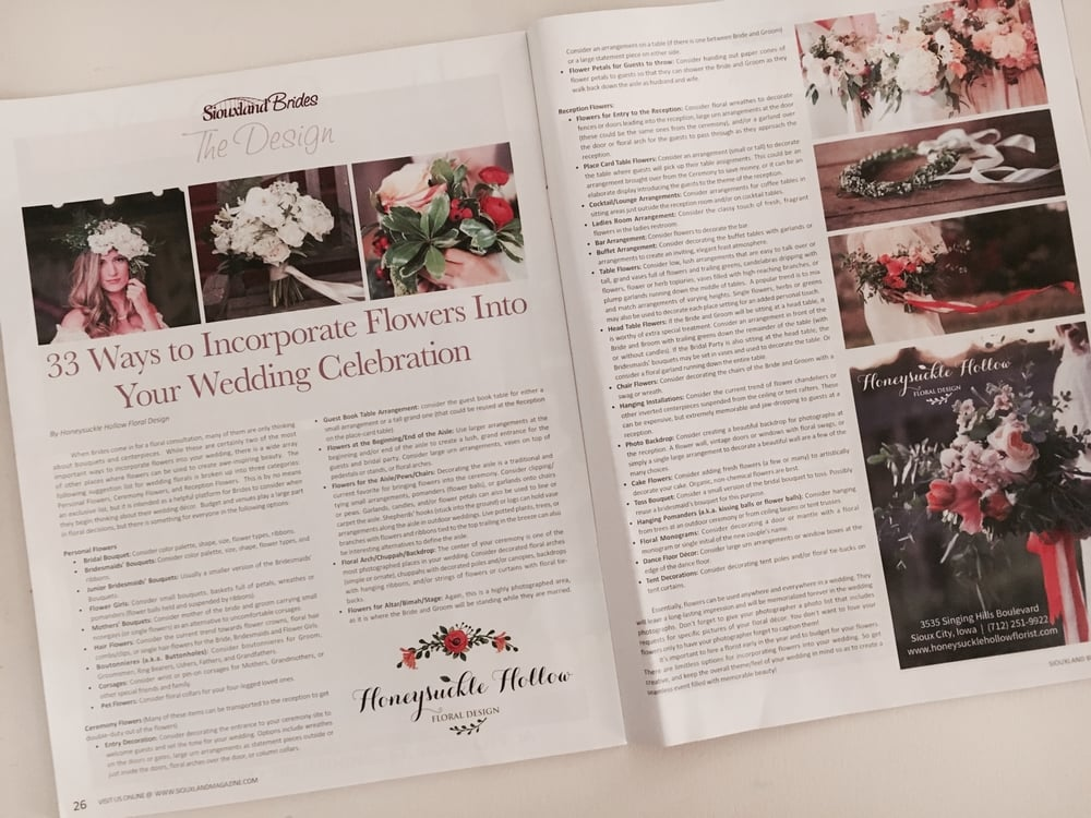 Our article was included in the 2015-2016 issue of  Siouxland Brides Magazine !