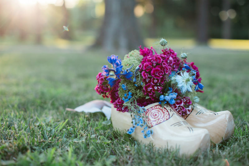 Dutch Floral Photoshoot Clogs with Bouquet