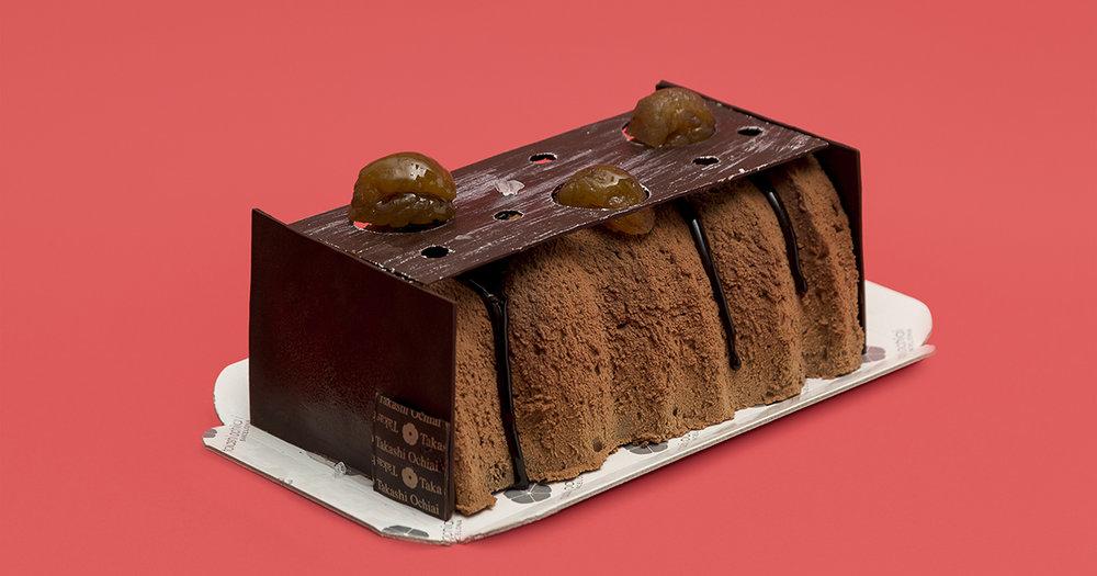 Castanya , mousse de xocolata manjari 64%, crema anglesa amb mel i castanya i pa de pessic de xocolata