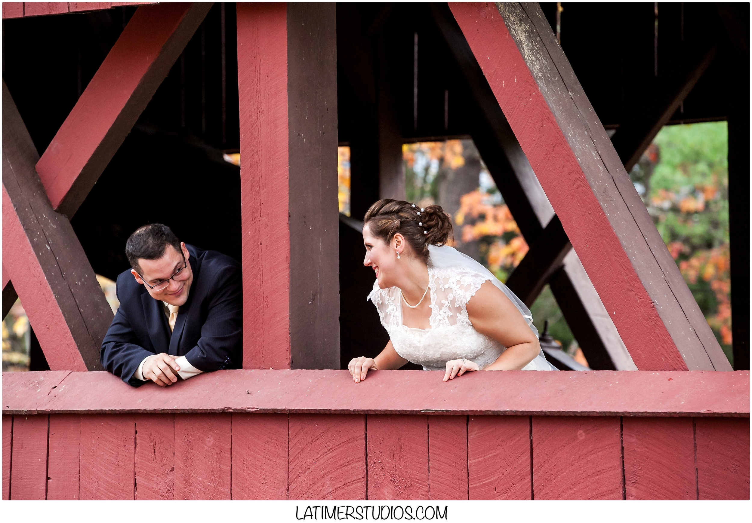 Bride and Groom on Swift River bridge in North Conway NH