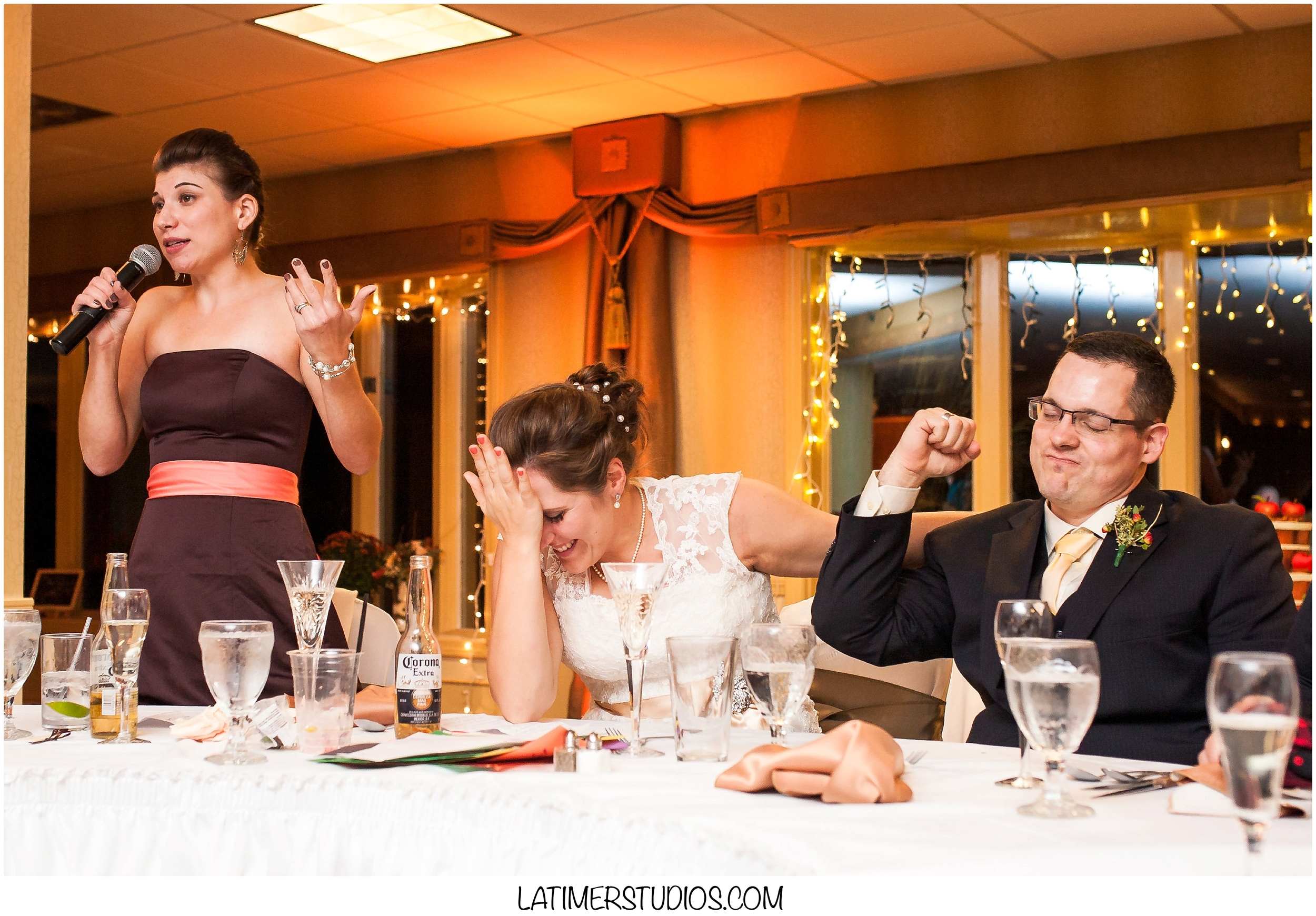 Latimer Studios Photography capturing funny moment during speech at Red Jacket Mountain View in North Conway, NH