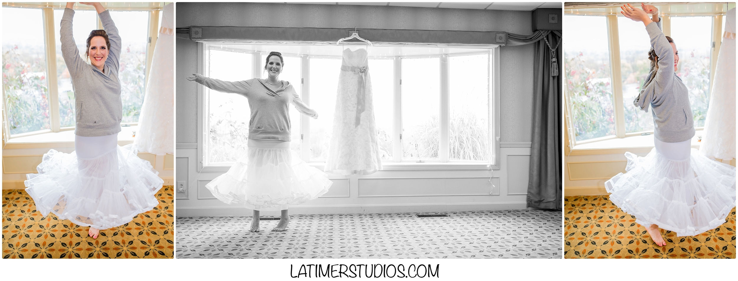 Latimer Studios Photography capturing wedding dress excitement at Red Jacket Mountain View in North Conway, NH