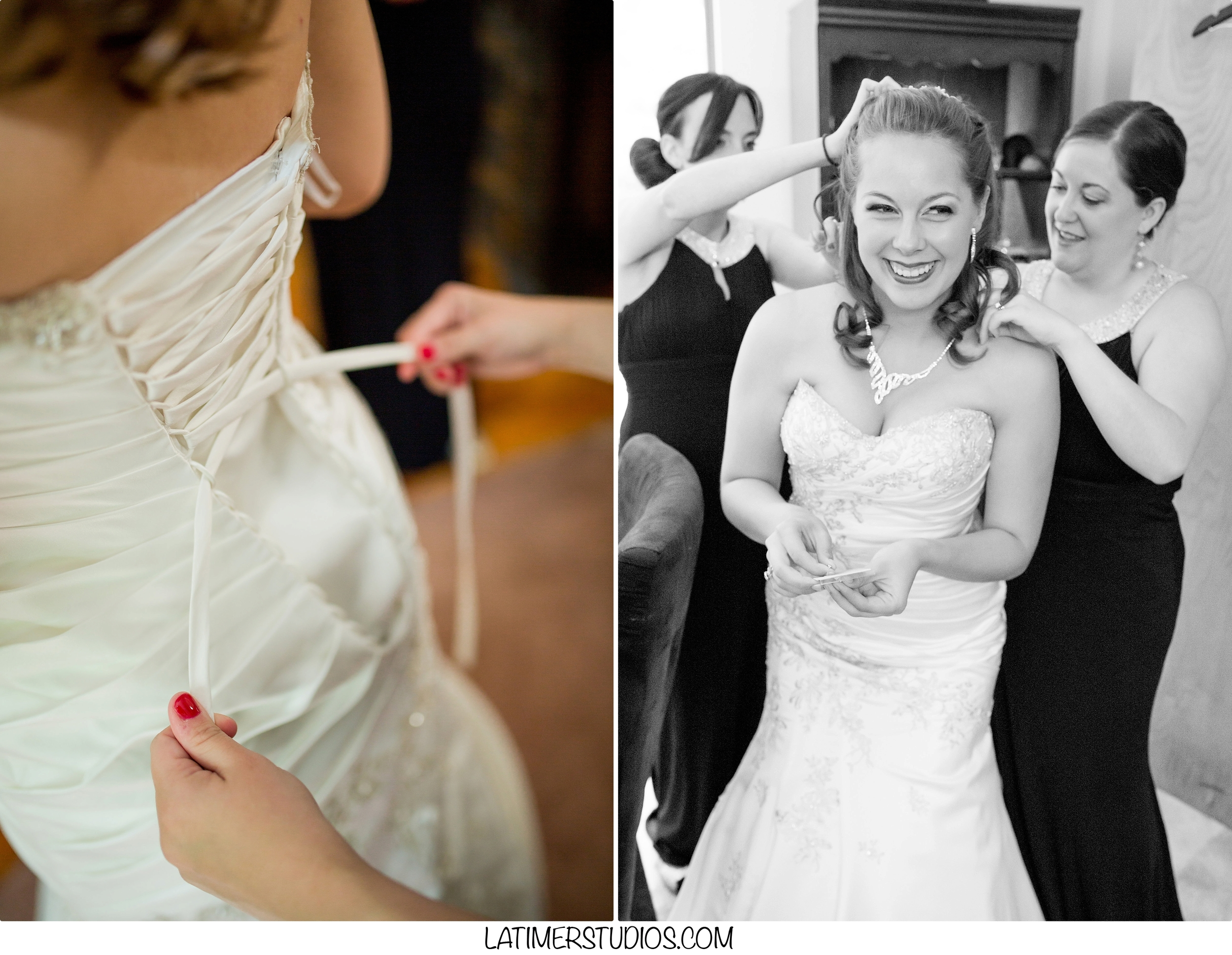 Latimer Studios Photography capturing bride putting on wedding dress in New Castle NH