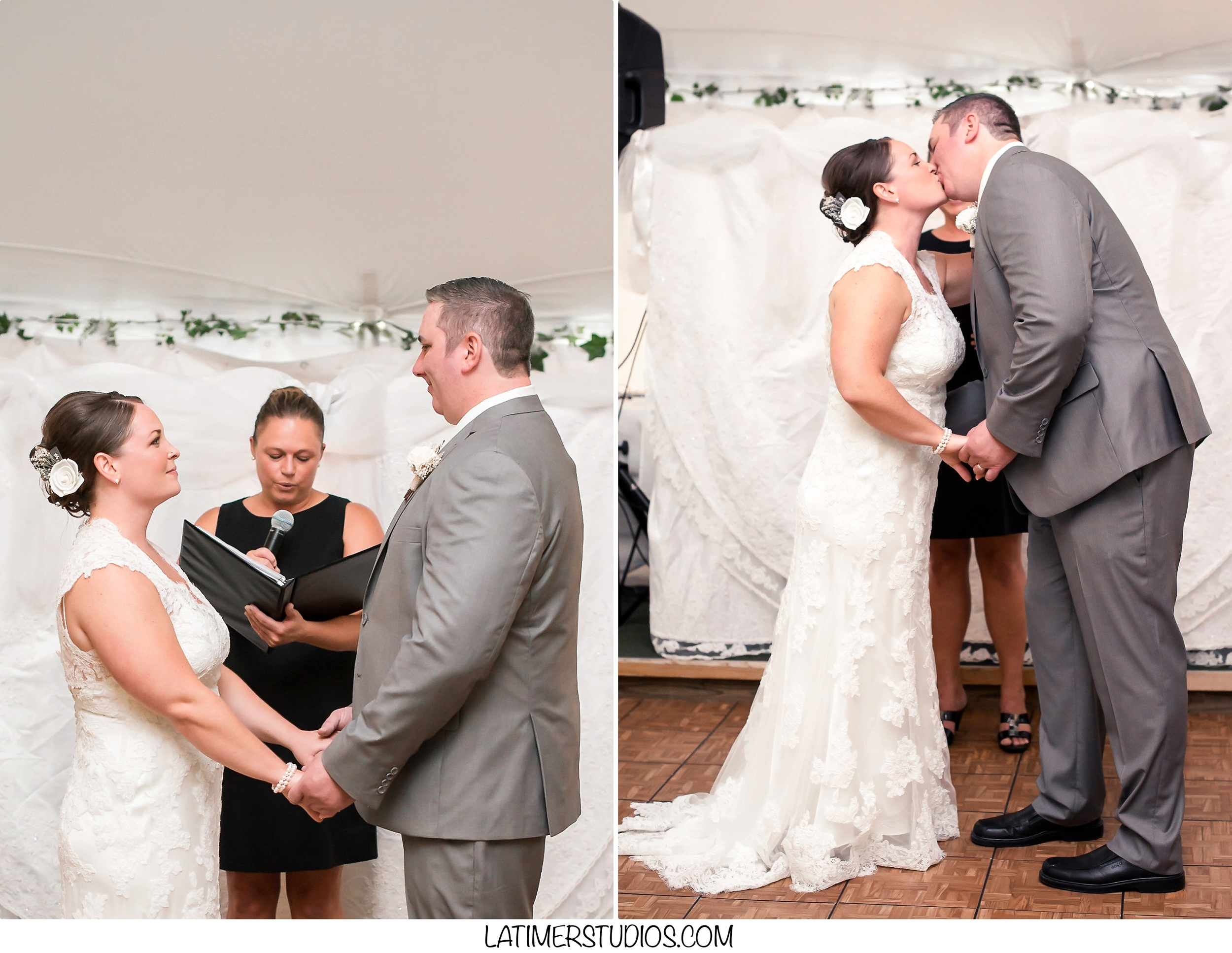 Latimer Studios Photography capturing a first kiss at a  wedding at Mile Away Restaurant in Milford NH