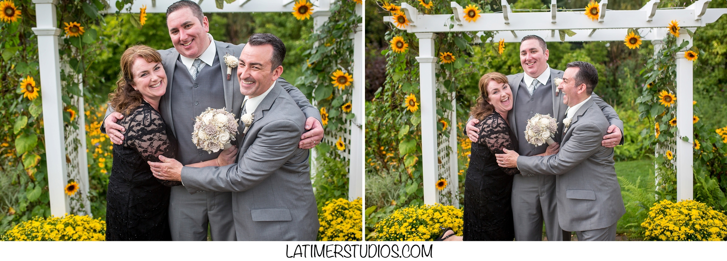 Latimer Studios Photography capturing  family pictures in the garden at a wedding at Mile Away Restaurant in Milford NH