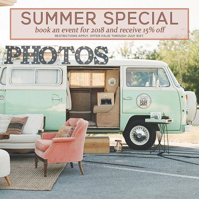 it's your favorite time of year where we offer the hottest deal in town to the coolest clients around! 🙌 book an event for 2018 and we will take 15% off our standard booking fees. limited dates available, restrictions apply. offer valid through the end of july. // 📷: @thesophiepton #summerspecial #vannagram #photobooth #vwphotobooth