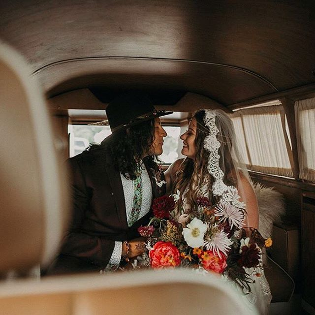rae + christian brought all the good vibes to our little bus! ✨ check out the vintage-inspired magic in their love story featured on @junebugweddings! [link in profile] #goodvibes #vannagram #ido // amazing 📷 by: @fromthedaisies