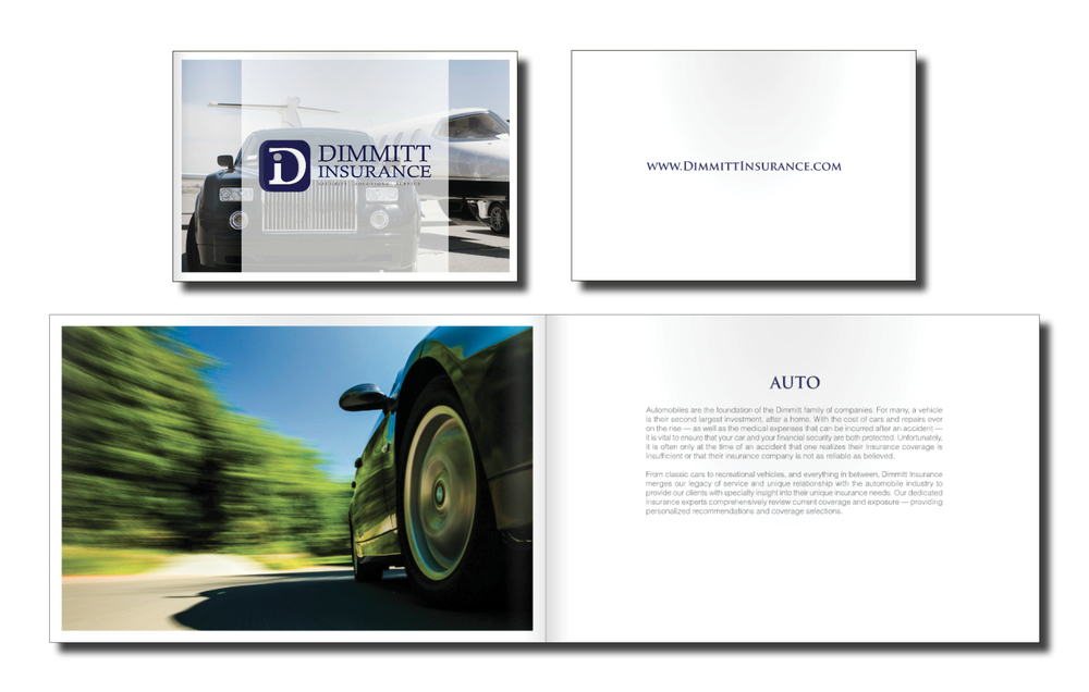 Located in Clearwater, Florida, Dimmitt Insurance provides a full range of personal insurance coverage — from luxury automobiles and homes, to yachts, jewelry, fine arts and beyond. Their goal is to make the insurance process effortless, while combining world class service with trusted coverage advice. Design Inceptions was hired to create and informative, high-end booklet to be used as the leading marketing piece for the launch of Dimmitt's luxury insurance line. _________________________________________________________________________________________________________________________________________________________________