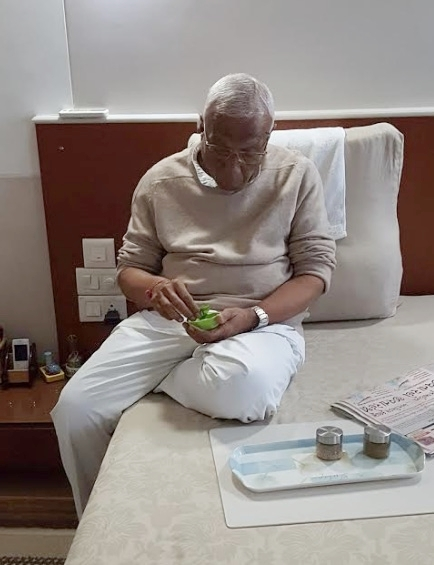 Bhaishree taking tulsi.jpg