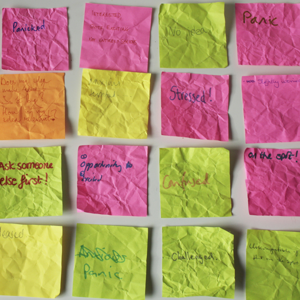 Post it notes of feelings