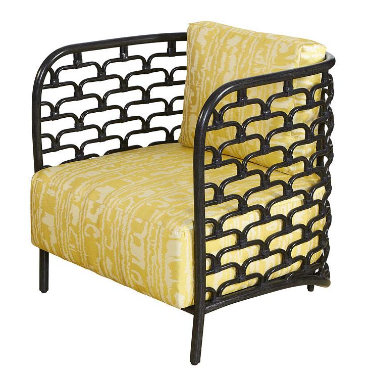 Rattan Steps Barrel Chair   Black