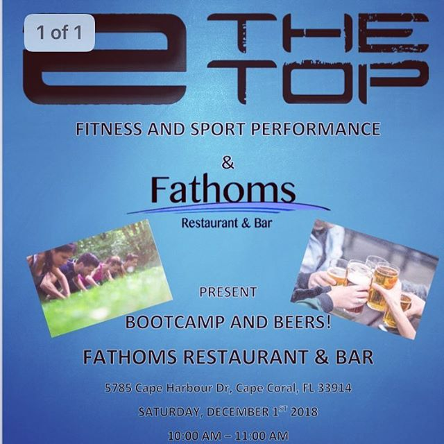 Beers 🍻 and Bootcamp 💪  Saturday, Dec 1st @ 10:00 am @fathomsfl Restaurant and Bar...$15 60 min class, 1 Drink and a chance to win FREE TRAINING!  RSVP on our Soc Media