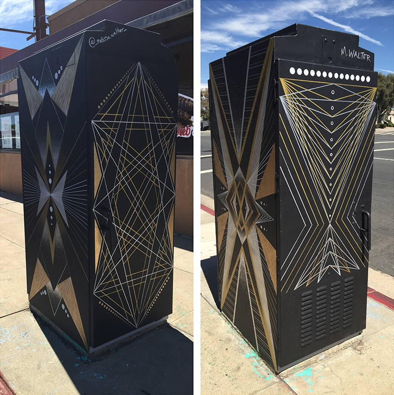 This utility box was designed for the public art project of College Area in San Diego, CA. All the boxes were curated by Jason Gould at Visual Shop. You can see this piece at 6548 El Cajon Blvd., San Diego, CA.