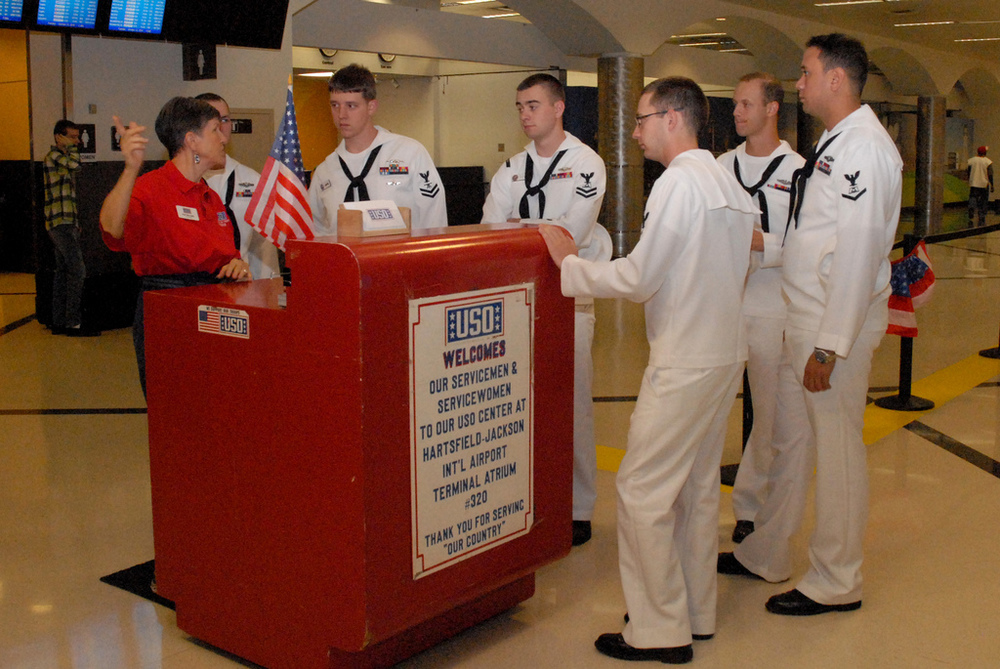 Member welcoming a few of the USS Georgia sailors to Hartsfield Jackson International Airport.