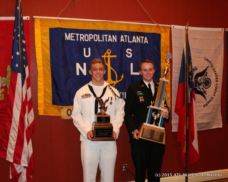 The 2015 NSCC winner of the Schwendler Award Cadet of the Year was c/PO1 Zachary E. Lee, ( left ) of the Pathfinder Excursion Squadron and The winner of the JROTC Outstanding Cadet of the Year award is c/LCDR John Erskine ( right ) of Kennesaw Mountain High School NJROTC.