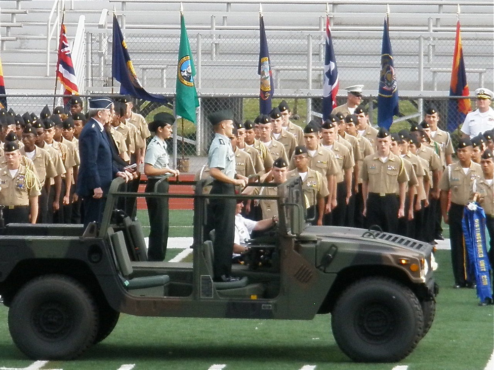 About 700 Air force, army, and navy JROTC cadets participated in the Cobb County and marietta city schools joing junior reserve officer's training corps parade and pass-in-review.ceremony. The reviewing Officer for the pass-in-review is Lieutenant General joseph redden (retired).