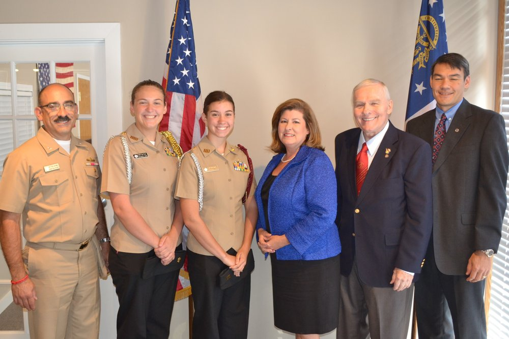 Depicted are (L-R), CAPT (Ret) Jim Minta, Lilly Pratt, Emily Hamilton, Congresswoman Karen Handel, Don Giles, and Axel Spens.