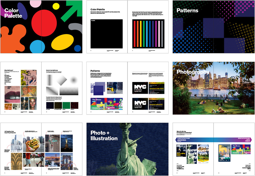 pages from the visual identity guide: color, photography, and pattern