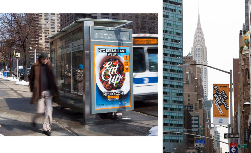 Bus shelters and banners in nyc