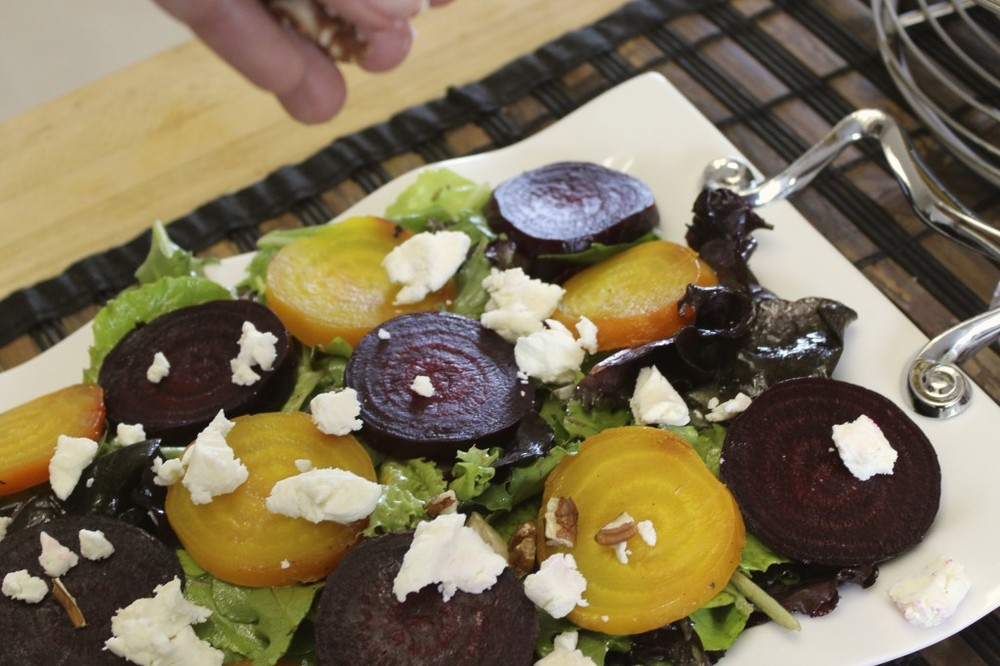 beet goat cheese salad orange thyme vinaigrette 61