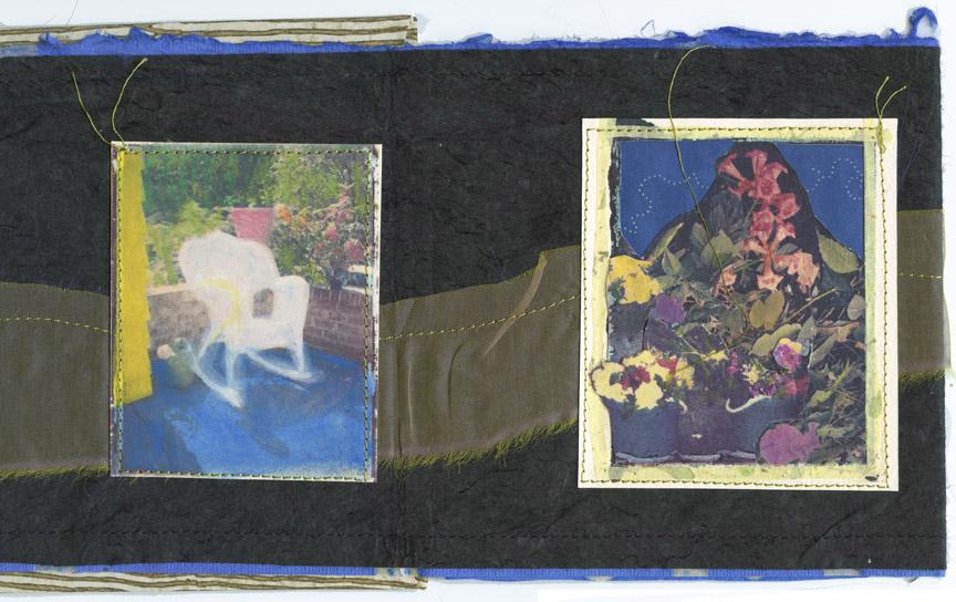 Lotus book, interior Polaroid transfer/mixed media