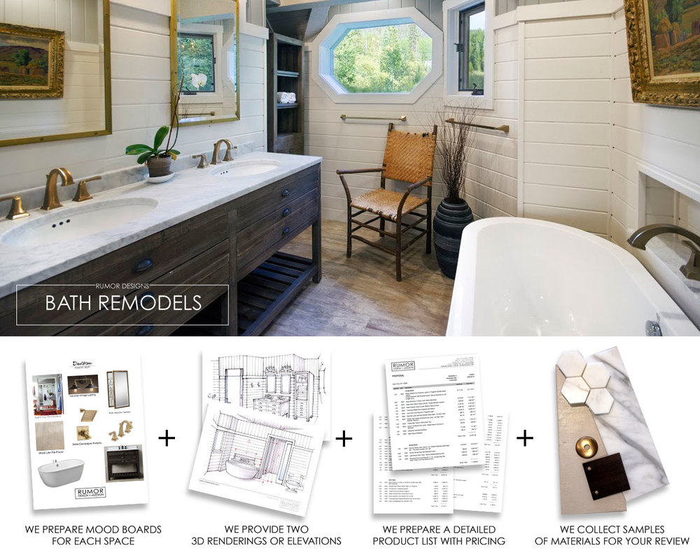 If your bathroom is in need of a complete design overhaul or you just want to replace the pieces already there, the i-Design plans will help you get organized and started. The i-Design plans are offered at fixed rates and do not include any more than one revision round. Master Bathroom: usually consists of four parts; the tub and surround, the shower area, the vanity area, and the toilet area. This i-Design package will explore new layout options which will include moving walls and plumbing or finding space in surrounding areas to fit a walk-in shower or double vanity option. If you already have the preferred layout and just need to replace the finishes then we can start developing the design concept. Based on your needs we will make recommendations for cabinetry, new lighting locations, plumbing fixtures and finishes for all other surfaces including tile and tile layout, counter tops and maybe even wall treatments. Guest Bathroom: usually consists of three parts; the shower or tub/shower combo, the vanity area, and the toilet area. This i-Design package is all about exploring the true design potential of the space. It is perfect for those that just want to replace everything and transform the space with updated and more functional storage. The Process: Send us an email with your contact information to get started. We will call you to discuss your project, and survey you about your needs. We will then request that you send us photos of your room, measurements of lengths and heights, plus some images of your desired style and mood. We will use this information to create a comprehensive solution to address every aspect of your new bathroom design. You Receive: Digital mood boards with images of all the recommend fixtures, flooring, wall tile, paint colors and lighting along with detailed and dimensioned floor plans and 2-3 elevations or renderings (depending on what will work best). This design concept is emailed to you in a digital presentation that includes the purchasing details, suggested resources and cost information. Any required samples are mailed to you upon completion of the plan. DESIGN COST: $2400 4-Part/Master Bath Design Plan (up to 120 SF) $1800 3-Part/Guest Bath Design Plan (up to 75 SF) Delivery: 2 - 4 Weeks