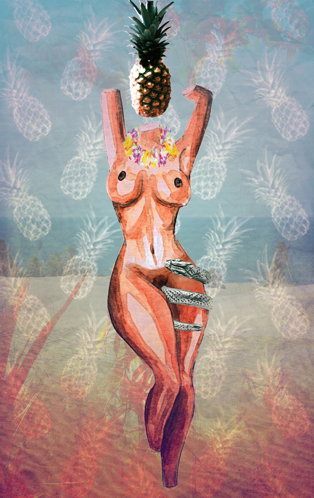 Niti Marcelle  Temptation, 2015 Watercolor, Digital, Collage