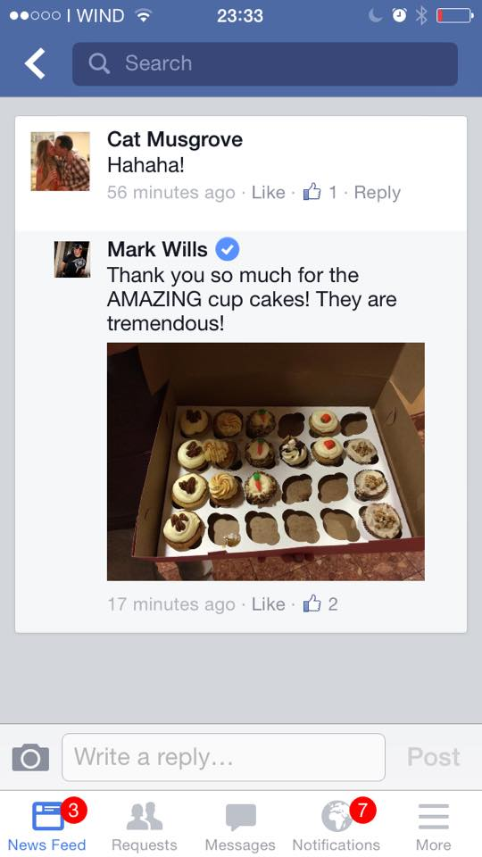 Cupcakes for Mark Wills and His Band