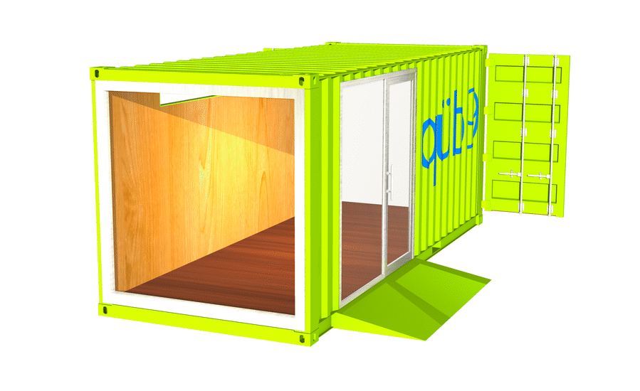 R3.3 RETAIL POP-UP SHOP WITH STOREFRONT GLAZING SYSTEM ADA RAMP, DOOR.