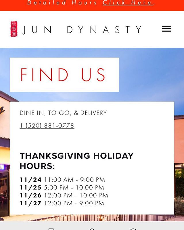 Dear Customers, it's Holiday seasons again. Here's our 2016 Thanksgiving Holiday Weekend Hours : 11/24 11:00 AM - 9:00 PM 11/25 5:00 PM - 10:00 PM 11/26 12:00 PM - 10:00 PM 11/27 12:00 PM - 9:00 PM