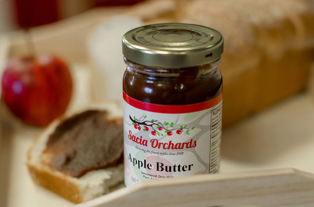 Sacia Orchards Apple Butter - A local favorite, our home-style Apple Butter spread is spiced with cinnamon and the tangly flavors of our local apples.