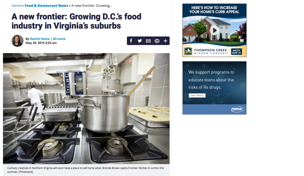 "A new frontier: Growing D.C.'s food industry in Virginia's suburbs""    WTOP.com 29 May 2015"