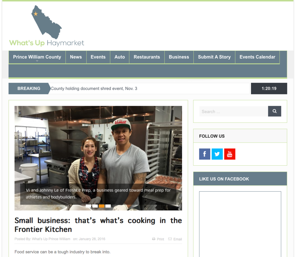 """   Small business: that's what's cooking in the Frontier Kitchen   ""   What's Up Woodbridge 28 January 2016"