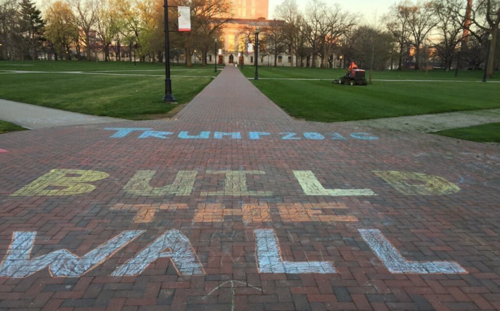 Political statement in support of Donald Trump at The Oval, student common area at Ohio State University.
